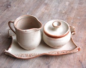 Cream and Sugar Set with Serving Tray, Handmade Wedding Gift Dining and Entertaining in Cream - Made to Order