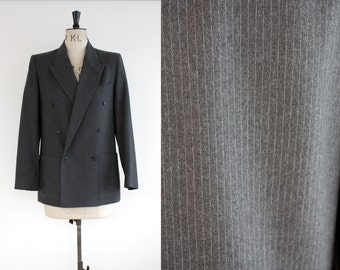 Vintage 1980s Harve Bernard Designer Pinstripe Grey Wool Double Breasted Jacket Size S/M