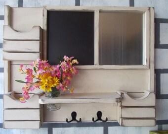 Large 3 Pocket Family Message Center---Framed Chalk Board--Magnetic Board--Kitchen Decor--Message Board