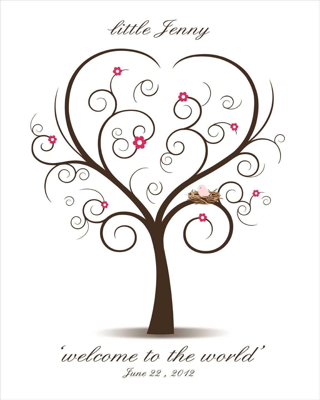 baby shower fingerprint tree printable jpeg by custombybernolli