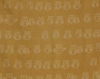 SALE- LAST Yard of Westex - Printed Broadcloth- Owls in Gold