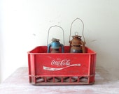Vintage Plastic Red and White Coca Cola Crate – rustic industrial storage