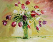 Original Oil Painting made to order on canvas Colorful Flowers Red Purple Modern Green Pink Spring Tulip Vase Palette Knife ART 3d Marchella