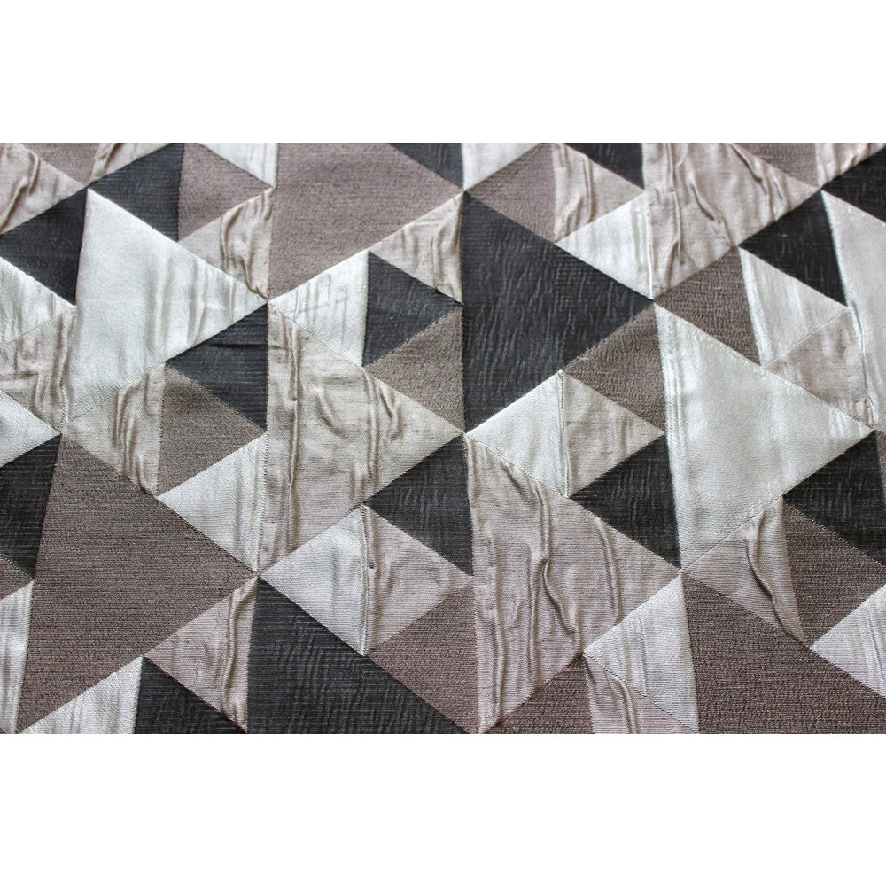 Brown N Grey Origami Geometric Pattern Curtain Fabric Upholstery Fabric Curtain  Panels Drapery Fabric Window Treatment Geometric Fabric Part 95