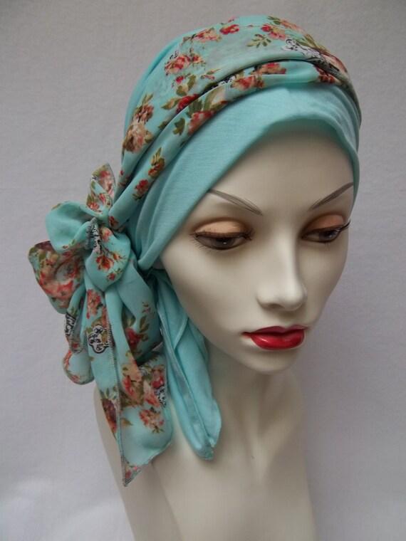 Head Scarf Aqua Fashion Chemo Headwear Soft Tencel Headcover w Floral Accent Scarf