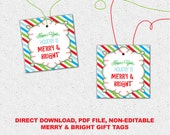 Holiday, Christmas Gift Tags, Merry and Bright, DIY Printable Digital File, Direct Download