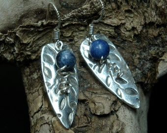 Indian Summer  - Fine Silver and Blue Sodalite Bead Earrings - PMC - Chakra Earrings