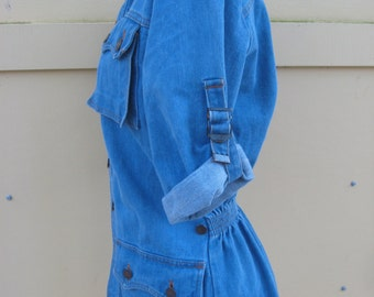 1970s Denim Jacket Size Medium Long elastic waist