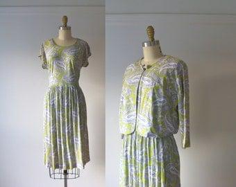 SALE vintage 1960s dress / 60s dress / Paisley Pastel