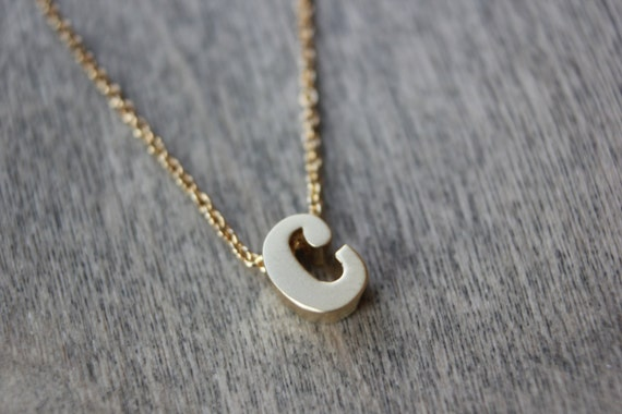 Gold lowercase c initial necklace 14k gold filled dainty for Lowercase letter necklace