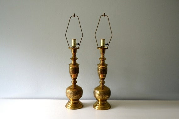 Vintage Brass Lamps Table Lamp Pair 1960s Chinoiserie