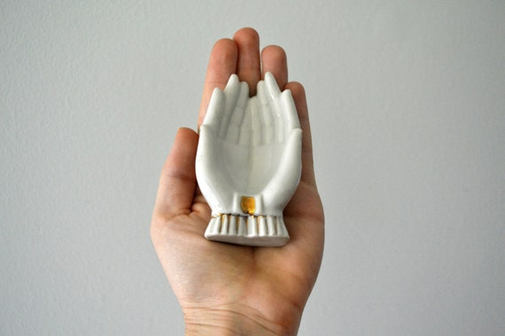 Vintage Hand Figurine, Japanese Gold & White Porcelain Figure, Ring Holder, Chopstick Rest, Figural Hand Ashtray, Anatomical Hand