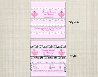 Full Size Candy Bar Wrappers - Ballet, Recital, Tutu Much Fun- Any Color Background- You Print