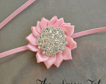 Pink Baby Headband - Newborn Headband -  Pink Flower Headband - Newborn Baby Girls