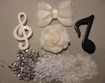Kawaii decoden deco diy cabochon big white bow and music sign kit  22--USA seller