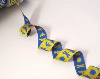 Yellow and Cobalt Blue Insect Design Polyester Jacquard Ribbon--One Yard