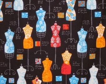 Bright on Black Dress Up Print Pure Cotton Fabric--One Yard