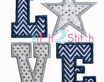 Star Love Applique Design Sizes 5x7 and 6x10 For Machine Embroidery INSTANT DOWNLOAD now available