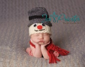 Frosty the Snowman  baby hat with scarf.. snowman hat... baby hat... ..photo prop.. photography prop..20% off with code VALEN1 at checkout