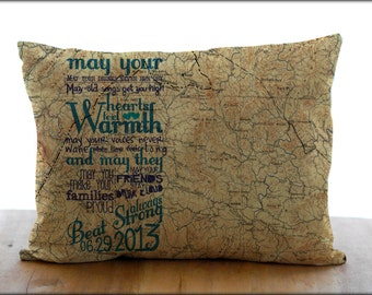 Custom Quote Map Pillow Cover