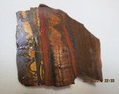 Brown, Gold, Red Chatoyant Minnesota Tiger Iron Rough Un-Polished Cabbing Slab -11