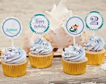 Mermaid Party Circles, Cupcake Toppers - Printable
