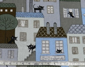 """Hide and seek Paris cats - half yard - 4 colors to choose - cotton linen - Check out with code """"sale15"""" to save 15% off"""