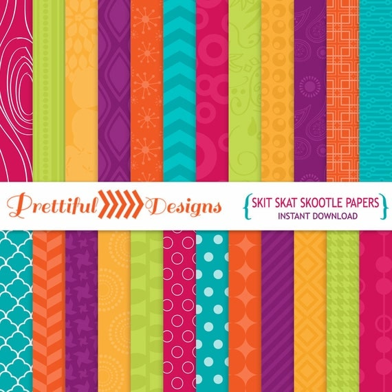30% OFF SALE Bright Digital Paper Rainbow Colors - Commercial Use - Skit Skat Skootle (803)