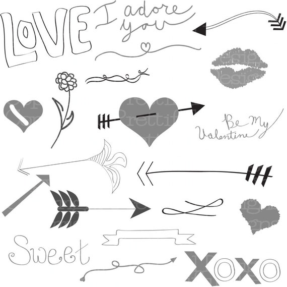 Vector Valentine Heart Love Arrow Clip Art in SVG EPS and AI for Commercial Use (807)