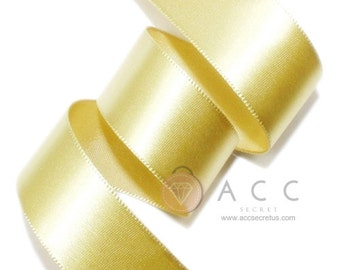 Gold Single Faced Satin Ribbon - 5mm(2/8''), 10mm(3/8''), 15mm(5/8''), 25mm(1''), 40mm(1 1/2''), and 50mm(2'')