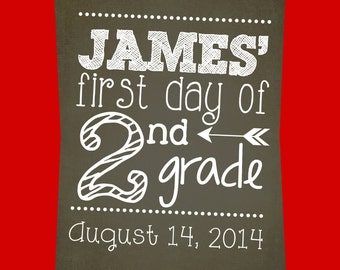Chalkboard print your own First Day of School Printable Sign - Child to Hold for First Day of School Photo -