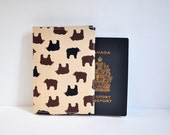 Passport Cover Sleeve Case Holder Brown Bear Honey Bear theme Cotton Fabric