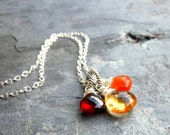 Citrine Necklace Trio Briolettes Garnet Carnelian Gemstone Pendant Necklace, Sterling Silver, Autumn Jewelry