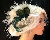 Bridal Fascinator, Feather Wedding Head Piece, Feather Fascinator, Bridal Hair Accessories, Bridal Veil Set, Peacock Hairclip, Great Gatsby
