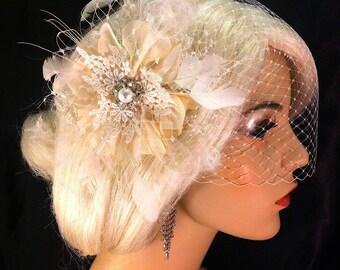 Bridal Fascinator with Veil, Ivory Silk Poppy Flower, Bridal Flower Fascinator, Bridal Headpiece, Bridal Hair Clip