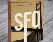 San Francisco SFO - Wood Block Art Print