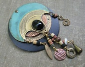 Vintage Verdigris Brooch, Egyptian Style, Patina on brass and Copper