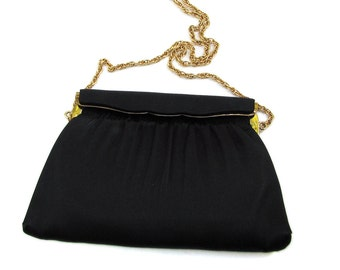 Vintage Black Satin Evening Bag, Ande Purse with Gold Chain Handle