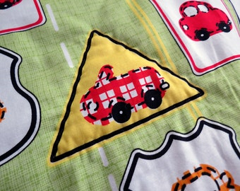 Kid Blanket: Cars and Traffic Signs on Lime Green