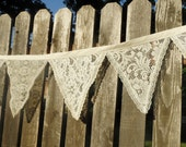 White or Ivory Fabric Lace Victorian Wedding Bunting 15 Ft Garland Of Flags Banner