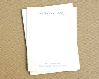 Personalized Stationery Cards / Modern Personalized Stationary with Names and Address / Housewarming Gift