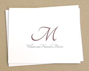 Personalized Folded Stationery Note Cards with Names and Initial / Custom Wedding Thank You Cards with New Name