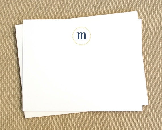 Personalized Stationery Set / Personalized Note Card Set with Polka Dot Monogram / Set of 12 Stationary Cards