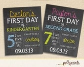 Back to school First day of school chalkboard print - digital file