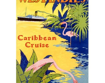 CARIBBEAN 1O- Handmade Leather Postcard / Note Card / Fridge Magnet - Travel Art