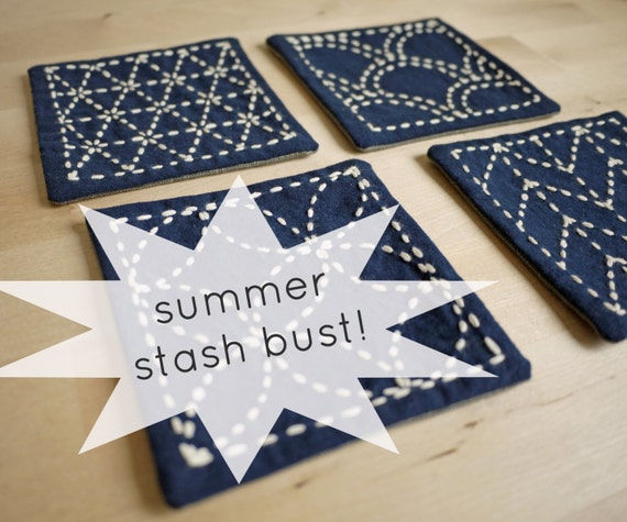 Sashiko Sampler Embroidery Kit 4 Coaster Set By SakePuppets