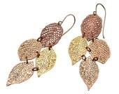 Rose gold earrings,bold earrings,statement leaf earrings,dangle gold earrings, nature jewelry , goldfield hook