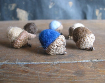 Felted wool acorns, set of 6, Earth and Sky Mix, blue felt acorns, brown felted acorns, woodland birthday decor, gifts for waldorf children