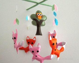 "Baby Mobile - Nursery Mobile - Jungle Fox Nursery room crib Mobile - ""Five Little Reddish Foxes"" Mobile  (Custom Color Available)"