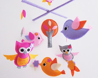 Baby Mobile - Baby Girl Mobile - Pink Orange Lavender Birds and Owls Love Flowers ( Custom Color Available )